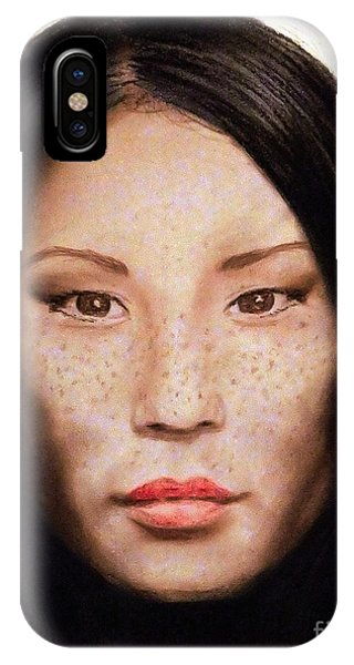 Leading Actress iPhone Case - Freckle Faced Beauty Lucy Liu  IIi by Jim Fitzpatrick