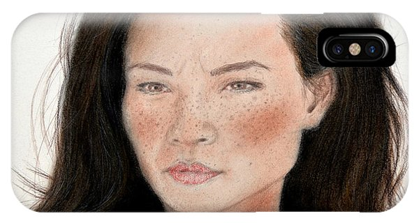 Leading Actress iPhone Case - Freckle Faced Beauty Lucy Liu Remake by Jim Fitzpatrick