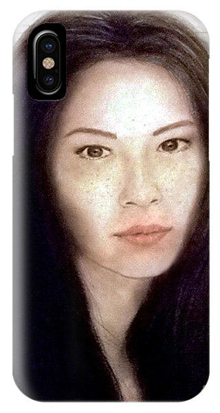 Leading Actress iPhone Case - Freckled Faced Beauty Lucy Liu  by Jim Fitzpatrick