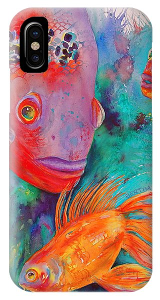 IPhone Case featuring the painting Freddy Fish And Friends by Karen bertha Calderon