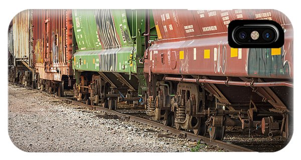 IPhone Case featuring the photograph Freight Train Cars On Tracks by Bryan Mullennix