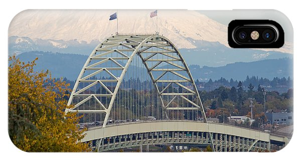 Fremont Bridge And Mount Saint Helens IPhone Case