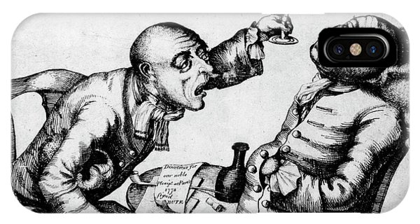 Alcoholism iPhone Case - French 18th Century Engraving Of Two Alcoholics by National Library Of Medicine/science Photo Library
