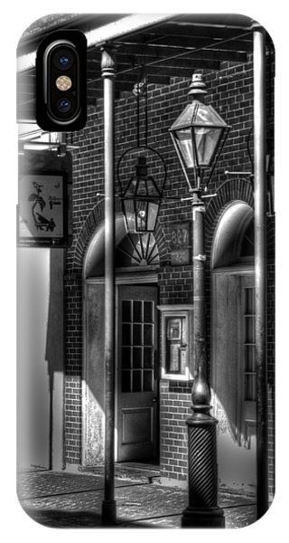 French Quarter Street Lamp In Black And White IPhone Case