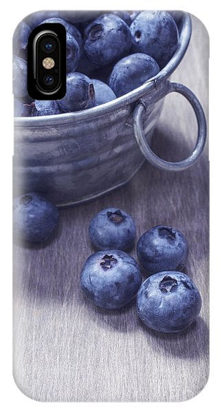 Blueberry iPhone Case - Fresh Picked Blueberries With Vintage Feel by Edward Fielding