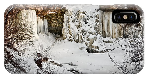 Fresh Snowfall At Wequiock Falls IPhone Case