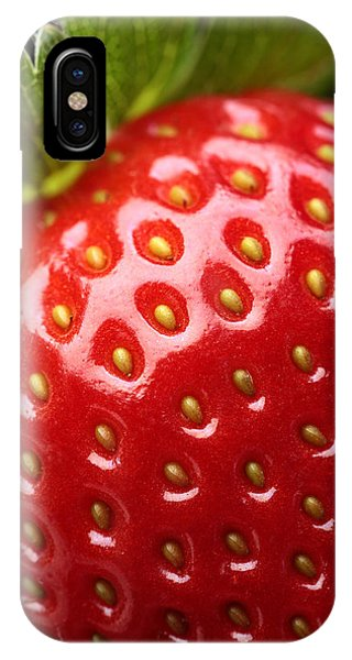 Red Fruit iPhone Case - Fresh Strawberry Close-up by Johan Swanepoel