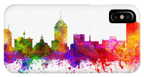 Fresno Silhouette iPhone Case - Fresno California Skyline 02 by Aged Pixel