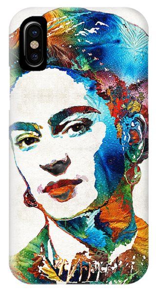 Portraits iPhone X Case - Frida Kahlo Art - Viva La Frida - By Sharon Cummings by Sharon Cummings