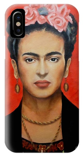 Red iPhone X Case - Frida Kahlo by Yelena Day