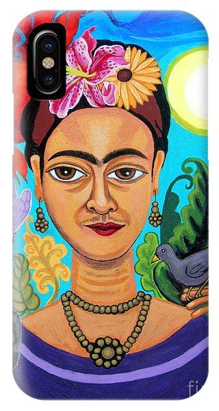Frida Kahlo With Monkey And Bird IPhone Case