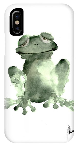 Frogs iPhone Case - Frog Painting Watercolor Art Print Green Frog Large Poster by Joanna Szmerdt