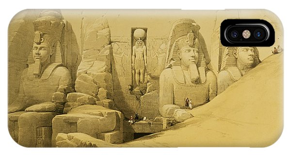 Pharaoh iPhone Case - Front Elevation Of The Great Temple Of Aboo Simbel by David Roberts