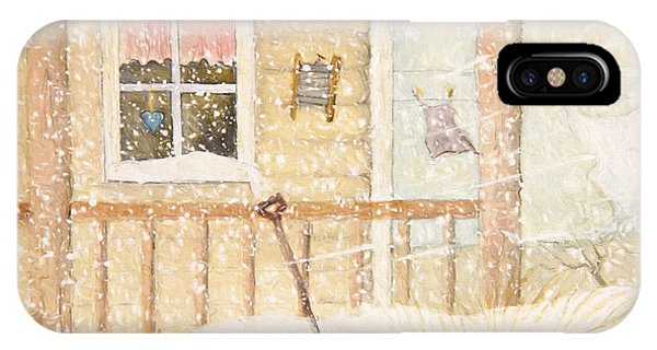 Front Porch In Snow With Clothesline/ Digital Watercolor IPhone Case