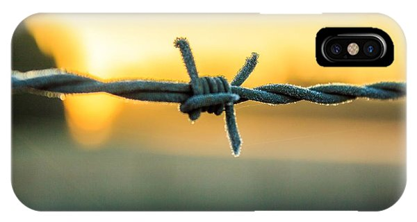 Frost On Barbed Wire At Sunrise IPhone Case