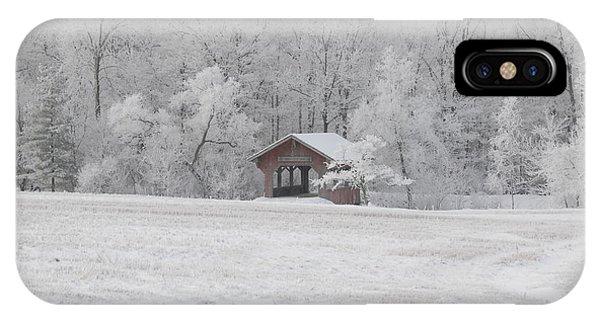 Frosty Morning Covered Bridge IPhone Case