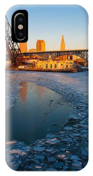 Frozen Cleveland Flats Skyline At Sunset IPhone Case