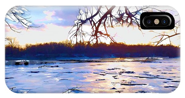 Frozen Delaware River Sunset IPhone Case