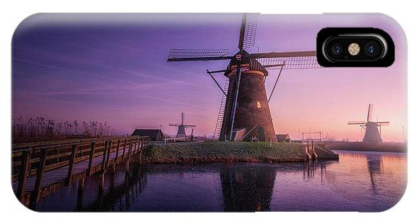 Windmill iPhone Case - Frozen Kinderdijk by Clara Gamito