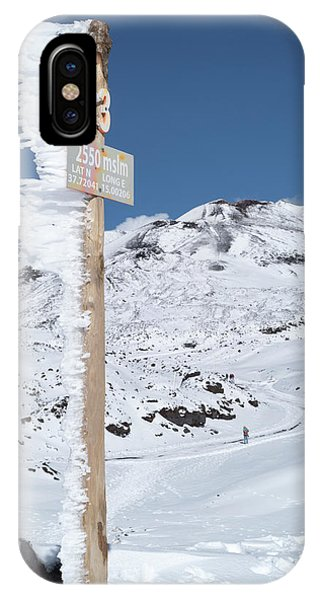 Mt Etna iPhone Case - Frozen Sign On Way To Summit Of Mt by Daniel Santacatalina