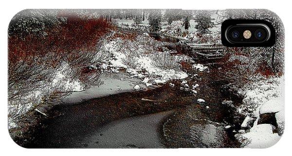 IPhone Case featuring the digital art Frozen Stream II by Visual Artist Frank Bonilla