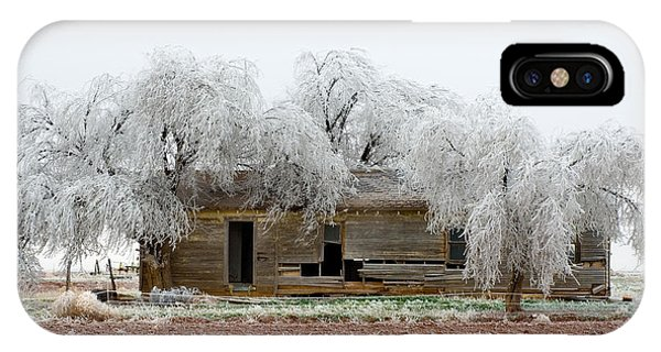 Frozen Trees And Shack Phone Case by Mae Wertz