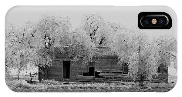 Frozen Trees In Black And White Phone Case by Mae Wertz