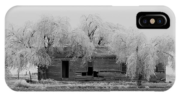 IPhone Case featuring the photograph Frozen Trees In Black And White by Mae Wertz