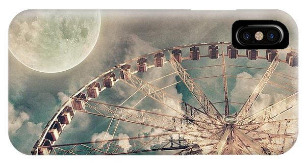 Teal iPhone Case - Full Moon And Ferris Wheel by Marianna Mills