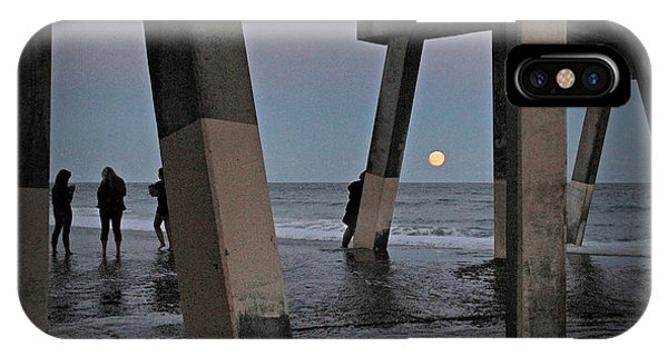 Full Moon At Johnnie Mercer's Pier IPhone Case