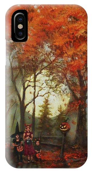 Full Moon On Halloween Lane IPhone Case