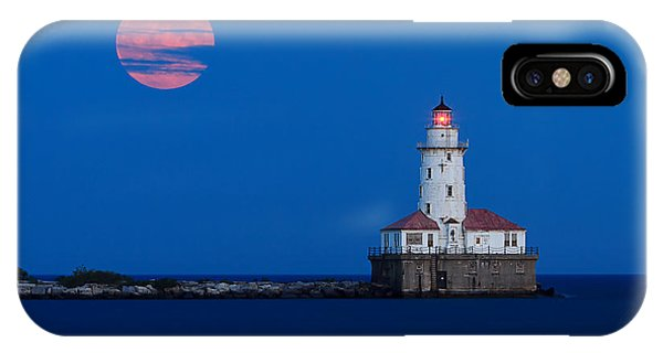 Full Moon iPhone Case - Full Moon Over Chicago Harbor Lighthouse by Katherine Gendreau