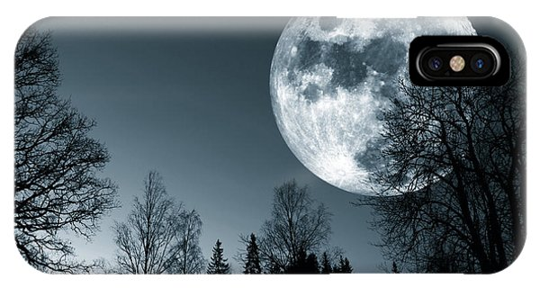 Full Moon Over Dark Forest IPhone Case