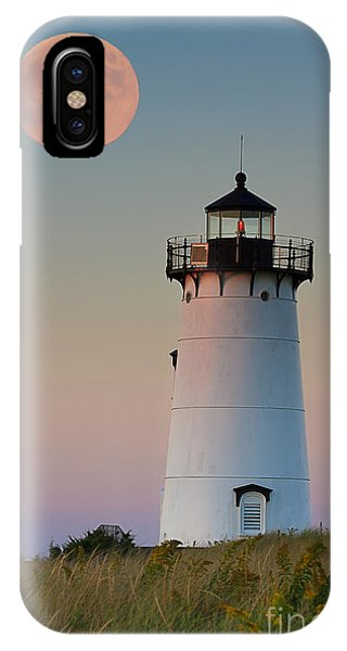 Full Moon iPhone Case - Full Moon Over Edgartown Lighthouse by Katherine Gendreau