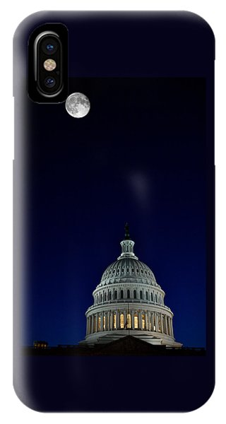 Full Moon Over Us Capitol IPhone Case