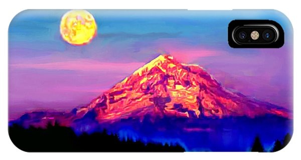 Full Moon Rising Over Mount Hood Oregon IPhone Case