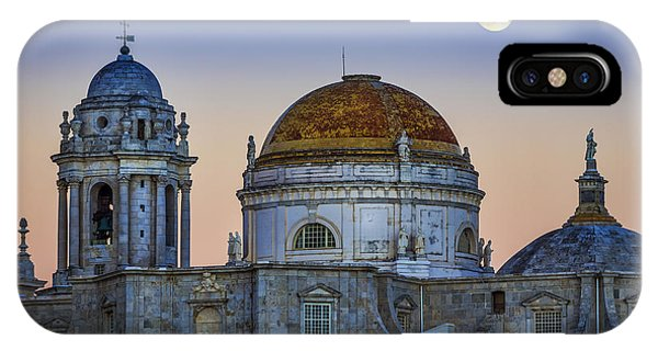 Full Moon Rising Over The Cathedral Cadiz Spain IPhone Case