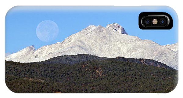 Full Moon Setting Over Snow Covered Twin Peaks  IPhone Case