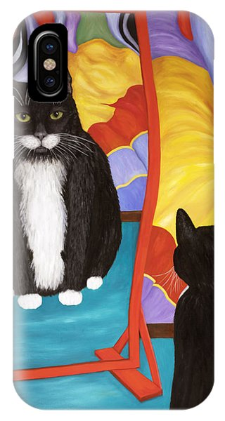 IPhone Case featuring the painting Fun House Fat Cat by Karen Zuk Rosenblatt