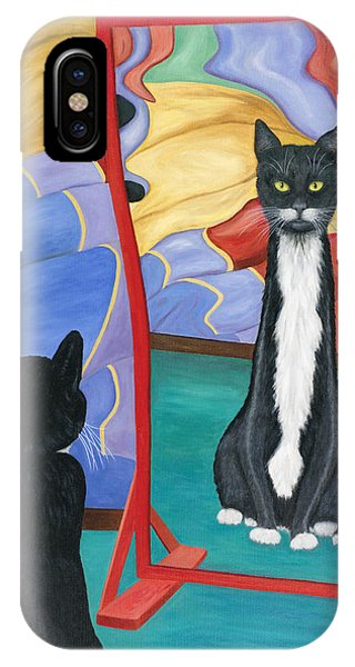 IPhone Case featuring the painting Fun House Skinny Cat by Karen Zuk Rosenblatt