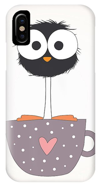 Decoration iPhone Case - Funny Bird On A Cup Illustration by Mers1na