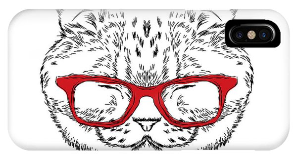 Humor iPhone Case - Funny Cat In A Tie And Glasses. Vector by Vitaly Grin
