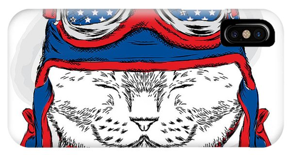 T Shirts iPhone Case - Funny Cat In The Hat And Scarf. Vector by Vitaly Grin