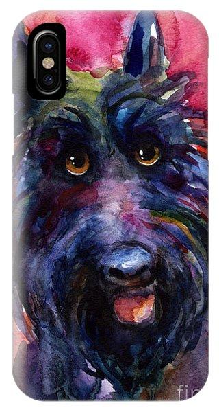 Funny Curious Scottish Terrier Dog Portrait IPhone Case