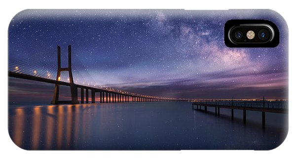 Night iPhone Case - Galactic Bridge by Carlos F. Turienzo