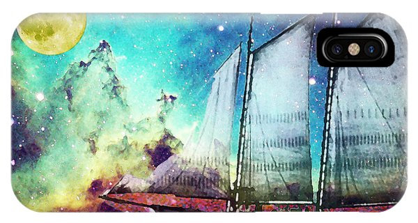 Boats iPhone Case - Galileo's Dream - Schooner Art By Sharon Cummings by Sharon Cummings