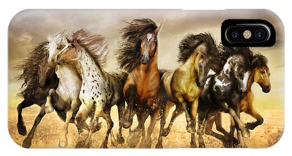 iPhone Case - Galloping Horses Full Color by Shanina Conway