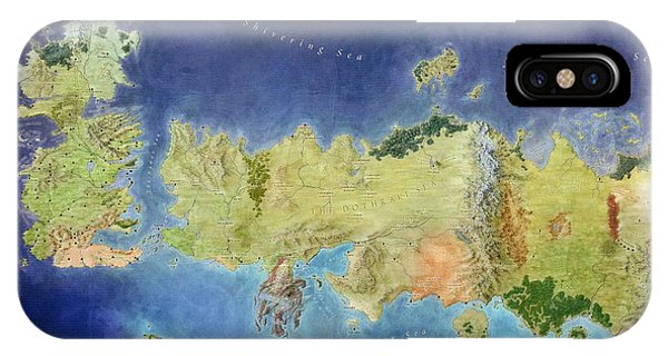 Ice iPhone Case - Game Of Thrones World Map by Gianfranco Weiss