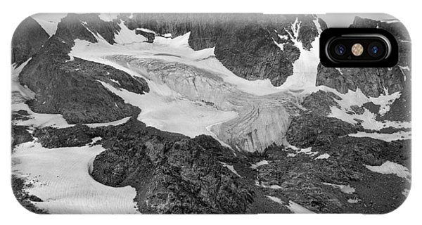 509427-bw-gannett Peak And Gooseneck Glacier, Wind Rivers IPhone Case