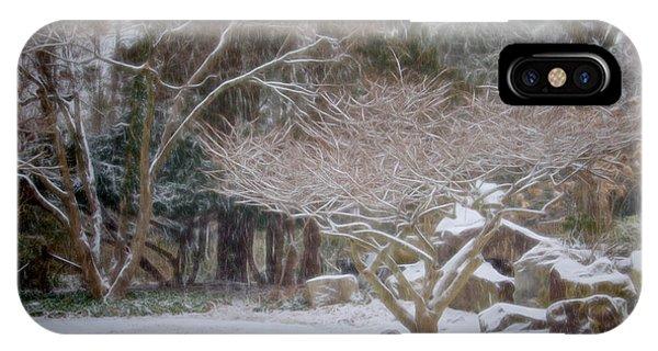 Garden Scene During Winter Snow At Sayen Gardens 2 IPhone Case